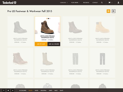 Timberland Product Ordering boots app product shopping timberland ux ui
