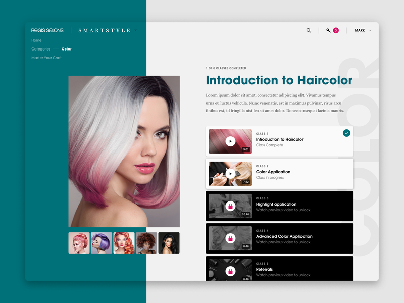 Salon Educational Platform Course Screen layout lesson design ui deisgn typography web  design video hair learning e-learning beauty salon branding