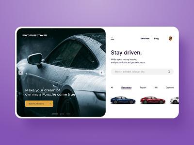 Porsche landing page concept designer uiuxdesign uiux ux web ui purple uidesign ui  ux ui design websites website concept website design web design webdesign website web