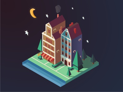 isometric houses night houses isometric illustration isometry vector picture logo illustration digital illustration icon adobe illustrator