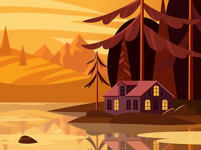 autumn landscape autumn sketch simple scenery ui houses for interface minimal 2d vector picture illustration digital illustration adobe illustrator