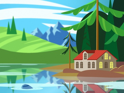 landscape vector day mountains scenery houses for interface minimal 2d vector picture illustration digital illustration adobe illustrator