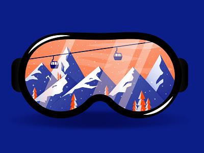 ski resort extreme sports extreme mask ski resort cabelway mountain logo mountains snowboarding snowboard logo icon for interface minimal 2d vector picture illustration digital illustration adobe illustrator