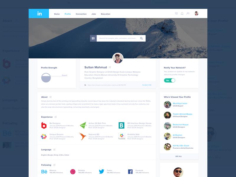 Linkedin Redesign ux ui clean responsive website design profile page redesign linkedin