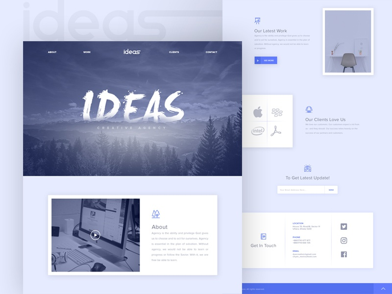 Creative Agency Landing Page clients contact about template psd free user interface onepage agency creative landing page