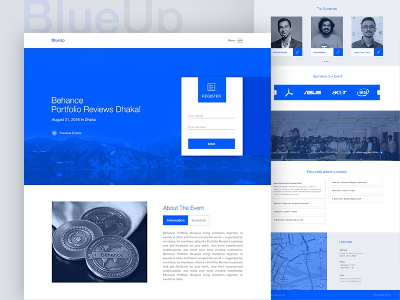 BlueUp- Event Landing Page clients contact about template free agency creative meetup behance landing page