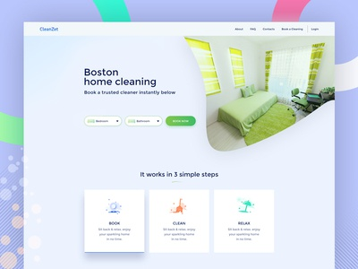 CleanZet   Home Cleaning bd 2017 design experience interface home cleaning website cleaning