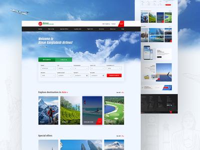 Redesign   Biman Bangladesh Airlines airlines travel booking flight personalportfolio homepage ui ux website bimanbangladesh redesign