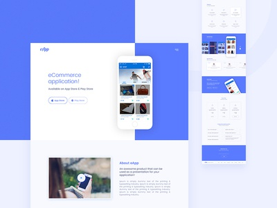 eApp   ecommerce app landing page template portfolio webdesign ux ui ios android apps ecommerce landingpage