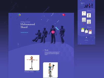 3d artist website   concept lovedribbble designer free ux ui webdesign portfolio animator 3d artist landingpage