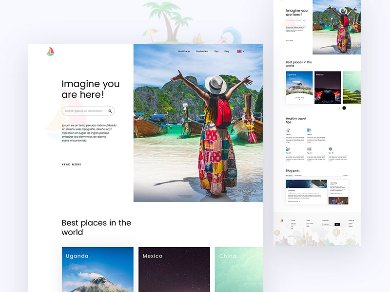 Travel Explore travelblog tips bestplaces destination webdesign ux ui landing page explore travel