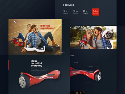 landing page   hoverboard stylish webdesign darkui design ux ui onepage product hoverboard landingpage
