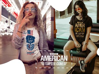 AmericanTopTee logo illustrator ux ui illustration minimal typography graphic design mikeadv branding