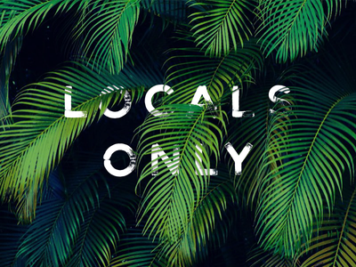 Locals Only green gotham palm fronds lettering locals only