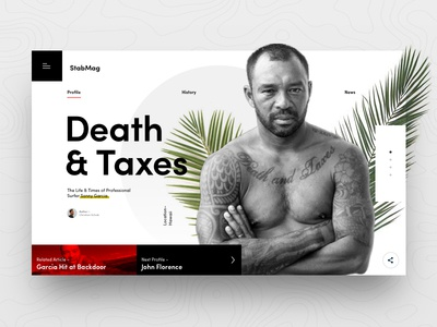 Death & Taxes layout typography web profile death palms digital web design landing page surf