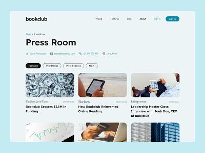 Press Page - Daily UI 051 desktop web minimal ui app design