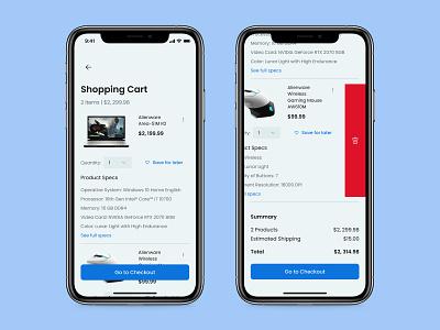 Shopping Cart - Daily UI 058 mobile ui minimal app design