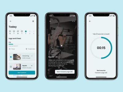 Workout of the Day - Daily UI 062 mobile minimal ui app design