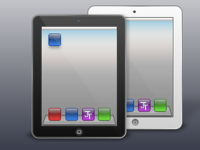 iPads - Clienty work  for a friend not really client ipad icons jt camera dock white black