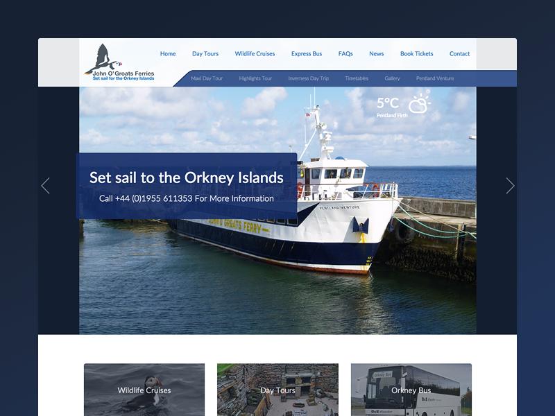 John O Groats Ferry - Redesign nav bar redesign puffin blue ferry website