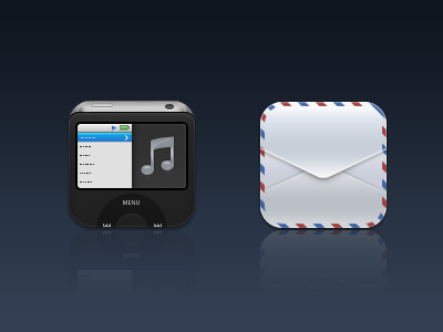 iPod and Mail Icons envelope ipod black white option music mail