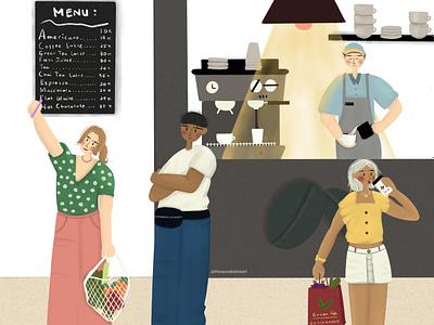 Cafe Corner at Supermarket design characters pixelart characterart comic characterdesign illustration