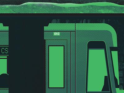 Rotterdam City Poster (WIP) rotterdam city wip capsz vector metro underground screenprint green dark bright raster bitmap