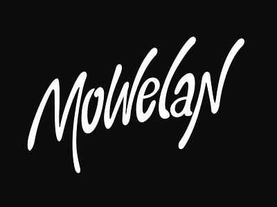 Mowelan - Lettering (WIP) wip vector logo lettering black white mowelan 80s slanted custom