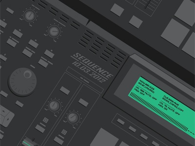 SEQUENCE Poster WIP wip vector dark capsz green electronics drumpad illustration poster gig party simplistic sequence buttons dials faders