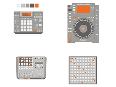 Mystery Poster (WIP) wip mystery poster project electronics instruments drum sequencer apc cdj orange grey gray illustrator vector sequence