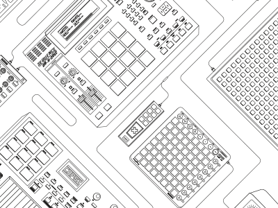 Mystery Poster Line Art (WIP) vector poster line art line art black white electronics drum pad wires x wip update rebound
