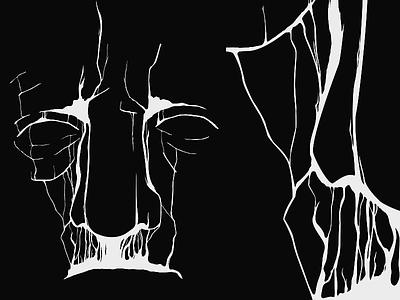 Exhale (WIP) vector line black white smoke face eyes wip crop nose illustrator illustration dark capsz
