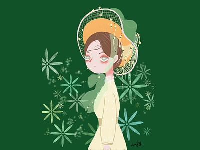 Girl in hat illustration