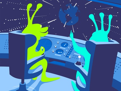 Blue holiday holiday illustration vector cockpit rocket ufo