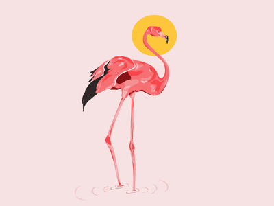 Flamingo Bird branding summertime malibu wallpaper logo apparel graphics monochromatic illustration minimal graphic design flamingo logo flamingo