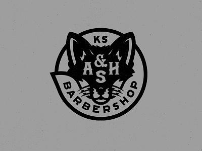 Fox & Ash Barbershop kansas logo branding apparel sticker barbershop barber fox illustration