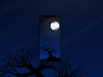 iPhone wallpaper - winter night procreate illustration wallpaper