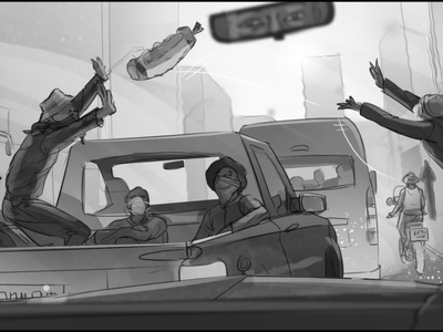 Storyboard for an AVBOB commercial greyscale storyboard art commercial storyboard illustration