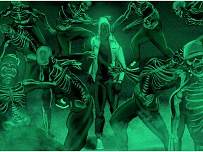 Storyboards for Tusker Lite lighting effects artistic storyboard illustration