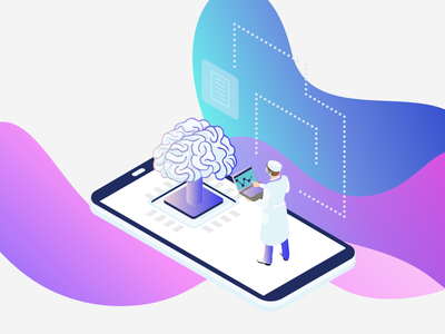 Illustrations for a health based app gradient purple stats medical multia whitepaper illustration infographic