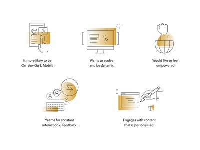 Icons minimal website gold gradient corporate icons