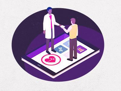 Digital health illustration digital health minimal illustration medical health ui