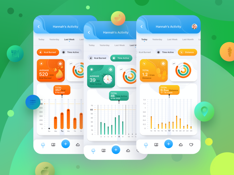 Wello: Health App for Kids. Activity Screens cards fitness app widgets colorfull iosapp tracking kidsapp ui uiux application healthapp activity app