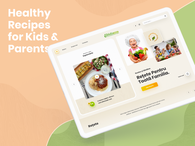 Wello Family: Healthy Recipes for Kids & Parents uidesign homepage kids food kids cards natural food organic food organic healthcare uiux ui recipes health
