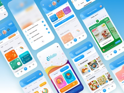 Wello: Health App for Kids healthapp food activity iosapp design cards ui uiux kids fitness app