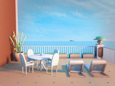 Amalfi 3d cg 3dcg minimal trip design illustration