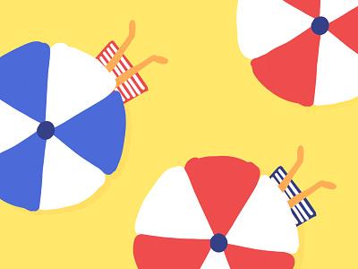 Les Juilletistes july juillet sun holidays ipad pro yellow summer beach illustration