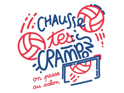 Chausse tes crampons… ipad pro world cup hand lettering bleus blue ball soccer football match typography illustration france