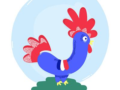 Le Roi de la basse-cour ! ipad pro world cup animal match blue team soccer football cock coq illustration france