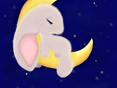 Moon rabbit illustrator illustration drawing digital illustration digitalart artwork artist art